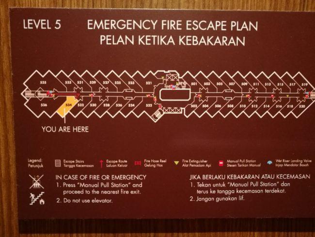 penang-hilton5階のフロアー図