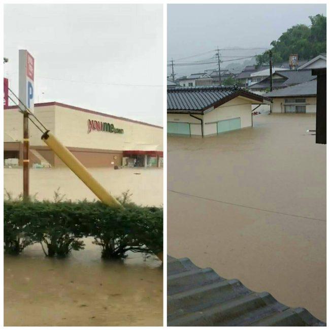 浸水で入り口が塞がれている、スーパーマーケットと、2階まで浸かってしまった民家の様子
