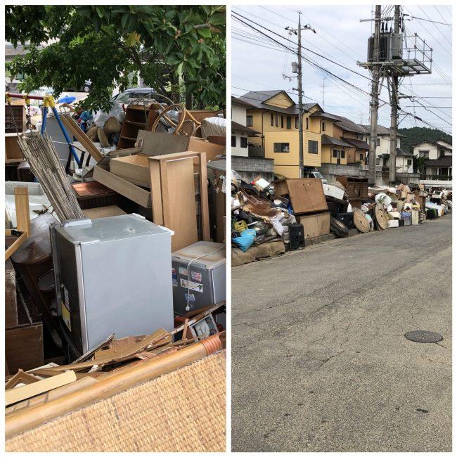集められた瓦礫と浸かってしまって使用不可の家財や電化製品