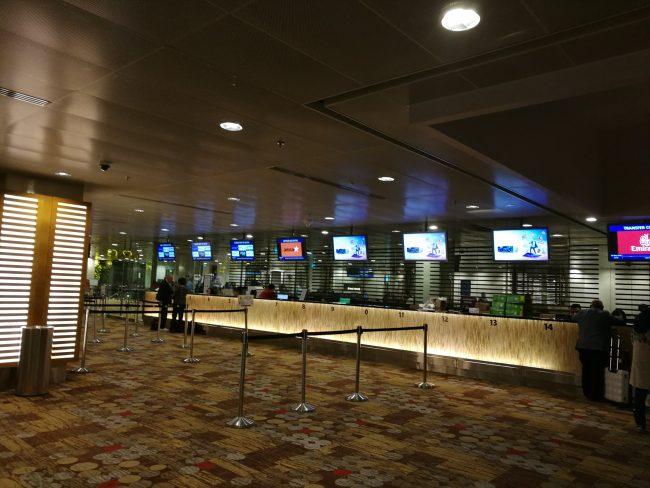 シンガポールチャンギ空港の乗り継ぎカウンターCのカウンターの様子