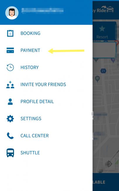 バリのブルーバードタクシーアプリのクレジットカード決済登録方法