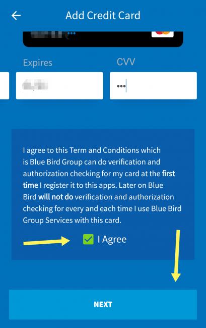 バリのブルーバードタクシーアプリのクレジットカード決済