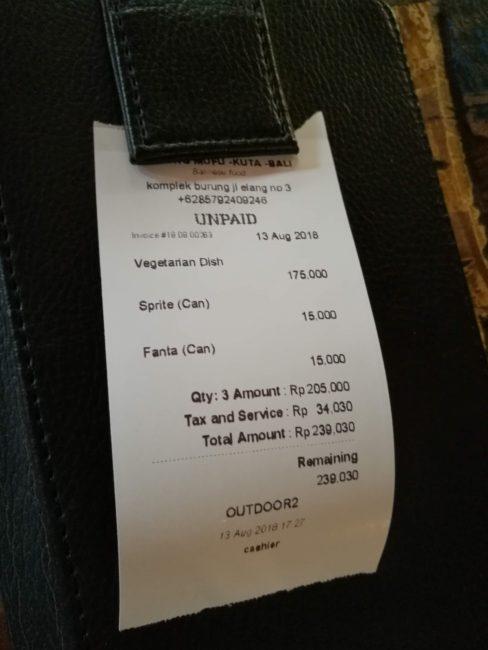 ヒルトンガーデンインバリ近所のレストランWarung Ten Pohの会計レシート