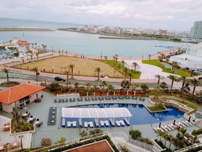 ヒルトン沖縄北谷オーシャンビュー部屋からの眺め
